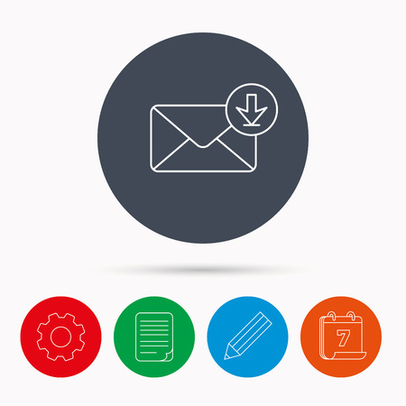 inbox icon: Mail inbox icon. Email message sign. Download arrow symbol. Calendar, cogwheel, document file and pencil icons.
