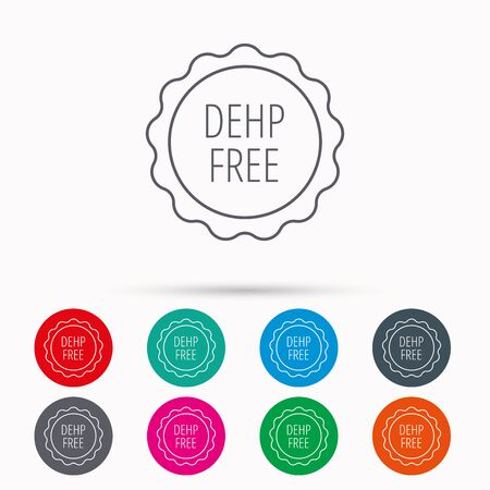 DEHP free icon. Non-toxic plastic sign. Linear icons in circles on white background.