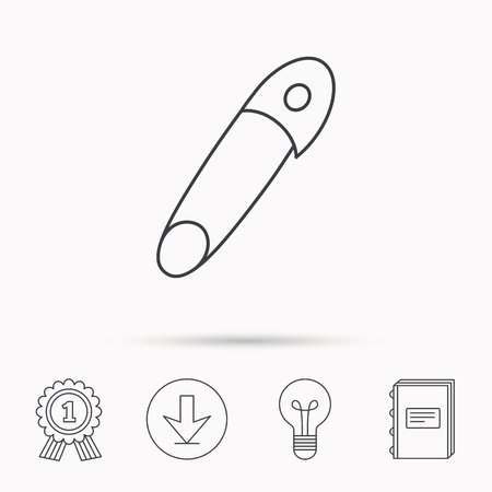 attachment: Pin icon. Stationery sign. Attachment symbol. Download arrow, lamp, learn book and award medal icons. Illustration