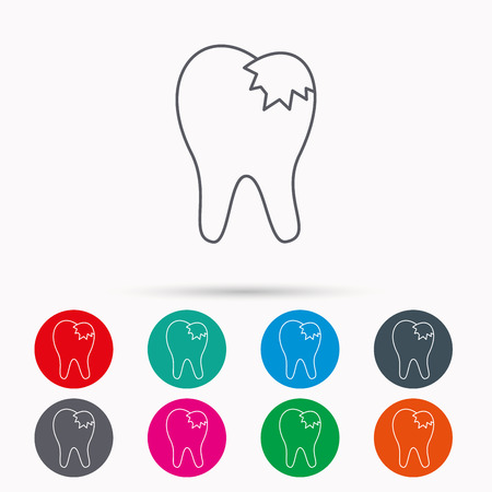 fillings: Dental fillings icon. Tooth restoration sign. Linear icons in circles on white background.