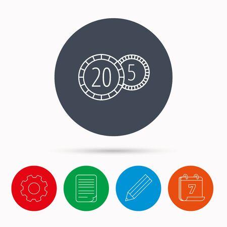 twenty: Coins icon. Cash money sign. Bank finance symbol. Twenty and five cents. Calendar, cogwheel, document file and pencil icons.