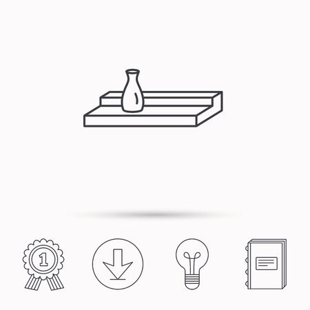 interior shelving: Wall shelf icon. Bookshelf with vase sign. Download arrow, lamp, learn book and award medal icons. Illustration