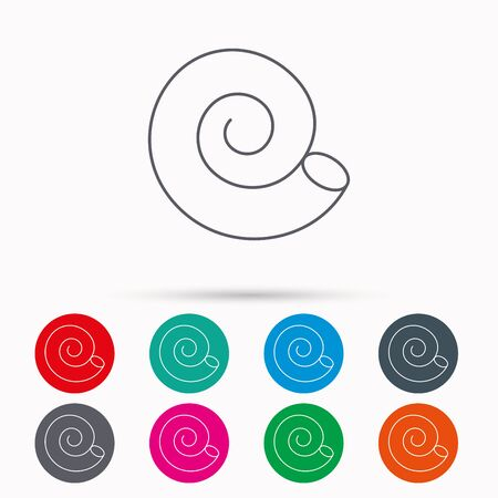 mollusk: Sea shell icon. Spiral seashell sign. Mollusk shell symbol. Linear icons in circles on white background.