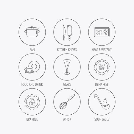 casserole: Kitchen knives, glass and pan icons. Food and drink, coffee cup and whisk linear signs. Soup ladle, heat-resistant and DEHP, BPA free icons. Linear colored in circle edge icons.
