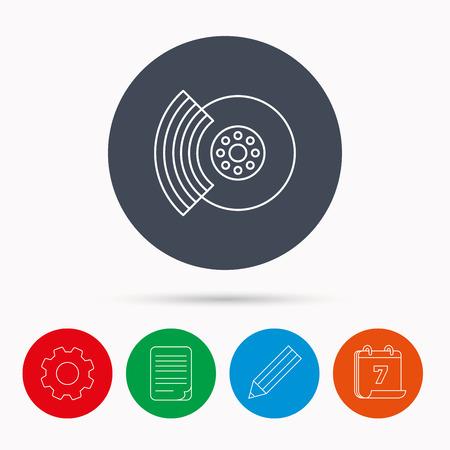 brakes: Brakes icon. Auto disk repair sign. Calendar, cogwheel, document file and pencil icons.