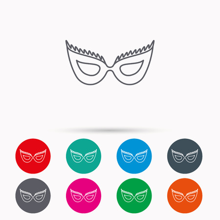 anonymous: Festive mask icon. Masquerade carnival sign. Anonymous symbol. Linear icons in circles on white background.