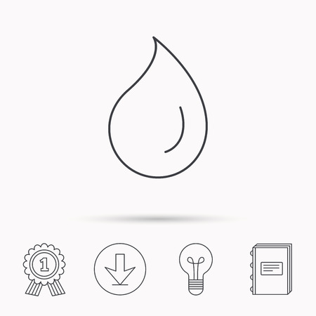 condensation: Water drop icon. Liquid sign. Freshness, condensation or washing symbol. Download arrow, lamp, learn book and award medal icons. Illustration