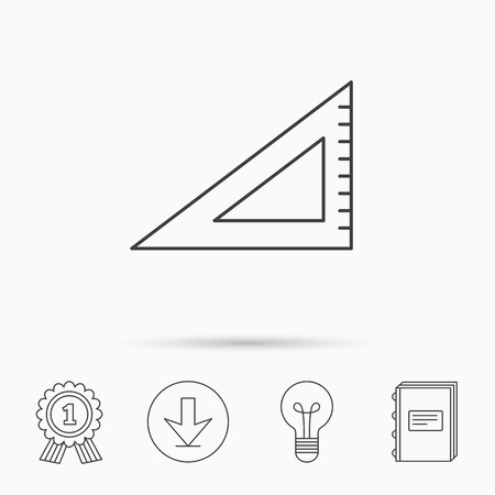 straightedge: Triangular ruler icon. Straightedge sign. Geometric symbol. Download arrow, lamp, learn book and award medal icons.