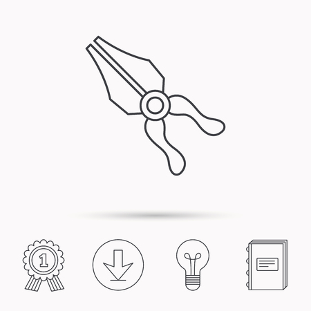 repairing: Pliers icon. Repairing fix tool sign. Download arrow, lamp, learn book and award medal icons. Illustration