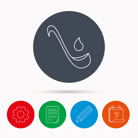 ladle: Soup ladle icon. Kitchen spoon sign. Calendar, cogwheel, document file and pencil icons. Illustration