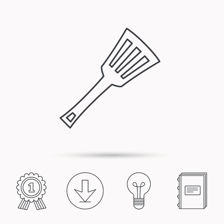 learning to cook: Kitchen utensil icon. Kitchenware spatula sign. Cooking tool symbol. Download arrow, lamp, learn book and award medal icons.