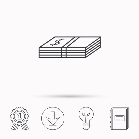 cash book: Cash icon. Dollar money sign. USD currency symbol. Download arrow, lamp, learn book and award medal icons.
