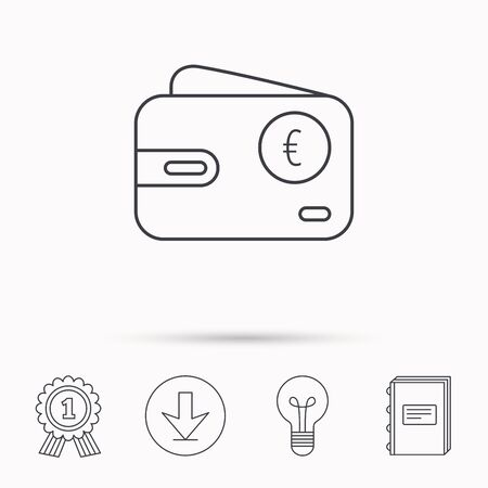cash book: Euro wallet icon. EUR cash money bag sign. Download arrow, lamp, learn book and award medal icons.