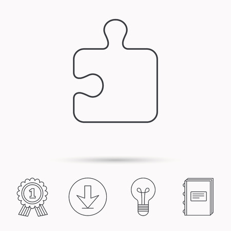 sequences: Puzzle icon. Jigsaw logical game sign. Boardgame piece symbol. Download arrow, lamp, learn book and award medal icons. Illustration