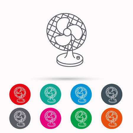 ventilator: Ventilator icon. Fan or propeller sign. Linear icons in circles on white background. Illustration