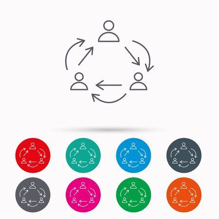 communication icons: Teamwork icon. Office working process sign. Communication employees symbol. Linear icons in circles on white background.