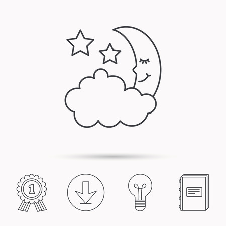 phase: Night or sleep icon. Moon and stars sign. Crescent astronomy symbol. Download arrow, lamp, learn book and award medal icons. Illustration