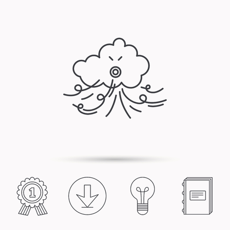 the tempest: Wind icon. Cloud with storm sign. Strong wind or tempest symbol. Download arrow, lamp, learn book and award medal icons.