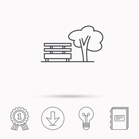 park icon: Public park icon. Tree with bench sign. Download arrow, lamp, learn book and award medal icons.