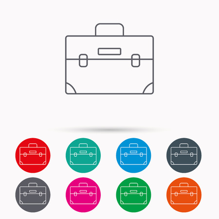 diplomat: Briefcase icon. Businessman case or diplomat sign. Hand baggage symbol. Linear icons in circles on white background.