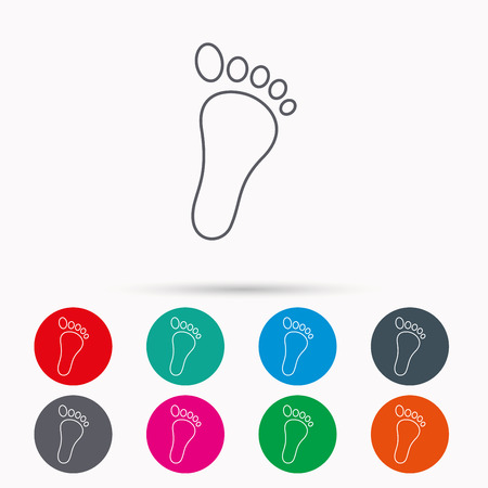 newborn footprint: Baby footprint icon. Child foot sign. Newborn step symbol. Linear icons in circles on white background.