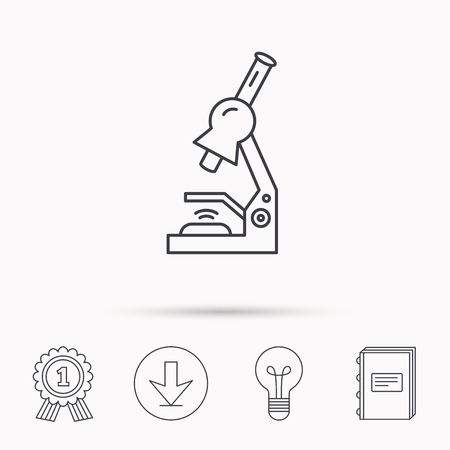 medical equipment: Microscope icon. Medical laboratory equipment sign. Pathology or scientific symbol. Download arrow, lamp, learn book and award medal icons.
