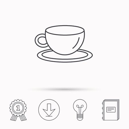 tea lamp: Coffee cup icon. Tea or hot drink sign. Download arrow, lamp, learn book and award medal icons.