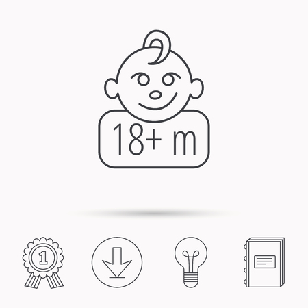 plus symbol: Baby face icon. Newborn child sign. Use of one and half year and plus symbol. Download arrow, lamp, learn book and award medal icons.