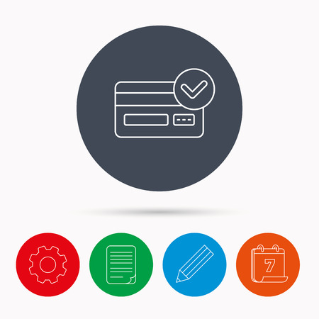 card file: Approved credit card icon. Shopping sign. Calendar, cogwheel, document file and pencil icons.