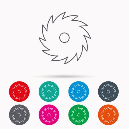 Cirkelzaag icoon. Cutting disk teken. Houtbewerking zaagblad symbool. Lineaire pictogrammen in cirkels op een witte achtergrond.