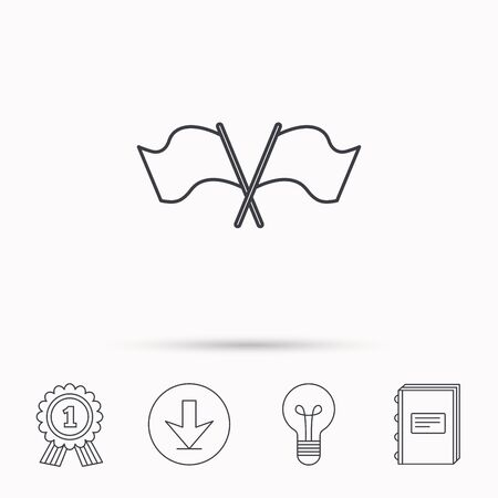 crosswise: Crosswise waving flag icon. Location pointer sign. Download arrow, lamp, learn book and award medal icons. Illustration