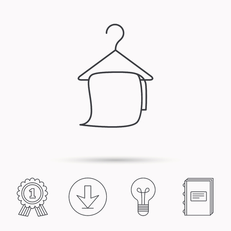 cleaning bathroom: Bath towel icon. Cleaning service sign. Bathroom hanger symbol. Download arrow, lamp, learn book and award medal icons.