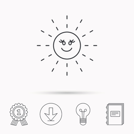 hot weather: Sun rays icon. Summer sign. Hot weather symbol. Download arrow, lamp, learn book and award medal icons. Illustration