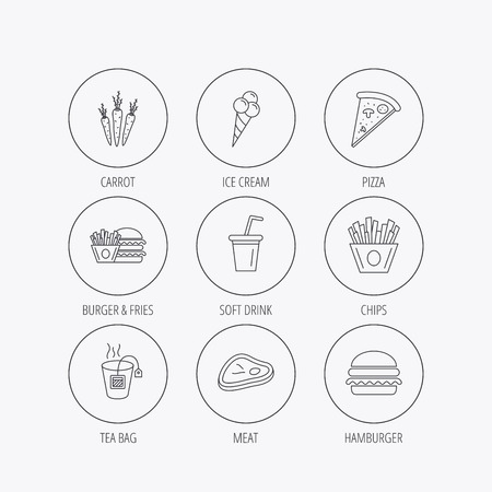 ice tea: Hamburger, pizza and soft drink icons. Tea bag, meat and chips fries linear signs. Ice cream, carrot icons. Linear colored in circle edge icons. Illustration