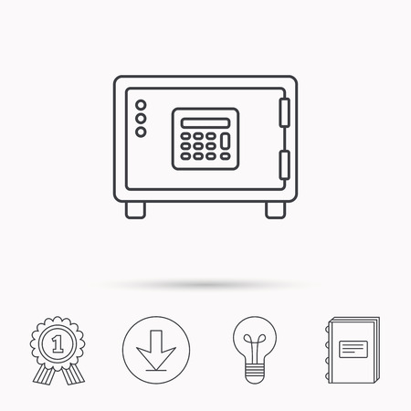 combination lock: Safe icon. Money deposit sign. Combination lock symbol. Download arrow, lamp, learn book and award medal icons.