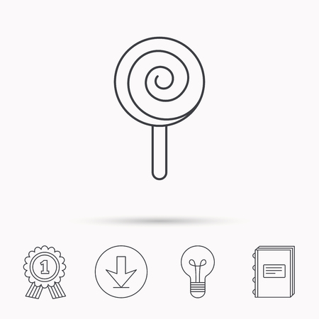 lolly pop: Lollipop icon. Lolly pop candy sign. Swirl sugar dessert symbol. Download arrow, lamp, learn book and award medal icons.