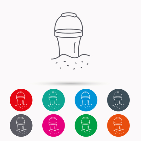 beach game: Bucket in sand icon. Trash bin sign. Child beach game symbol. Linear icons in circles on white background.