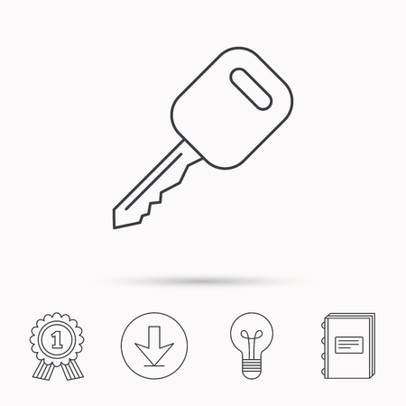 car lock: Car key icon. Transportat lock sign. Download arrow, lamp, learn book and award medal icons.