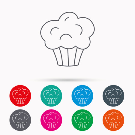 Muffin icon. Cupcake dessert sign. Bakery sweet food symbol. Linear icons in circles on white background.