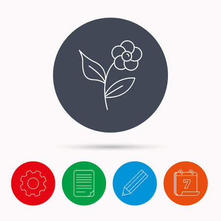 pencil plant: Flower with petals icon. Plant with leaves sign. Floral decoration symbol. Calendar, cogwheel, document file and pencil icons.