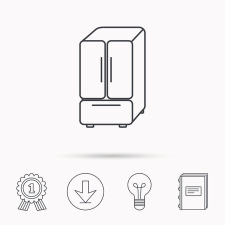 american downloads: American fridge icon. Refrigerator sign. Download arrow, lamp, learn book and award medal icons. Illustration