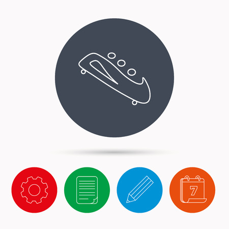 bobsled: Bobsleigh icon. Three-seater bobsled sign. Professional winter sport symbol. Calendar, cogwheel, document file and pencil icons. Illustration