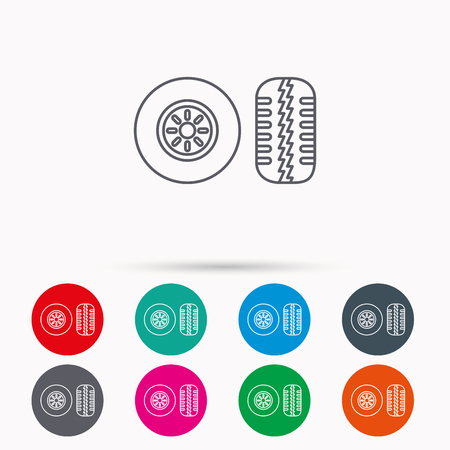 tread: Tire tread icon. Car wheel sign. Linear icons in circles on white background.