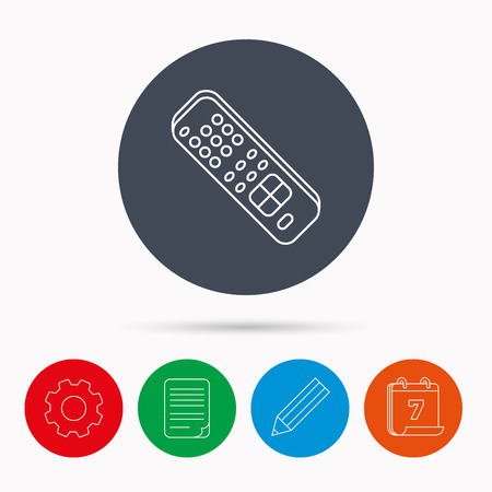 switching: Remote control icon. TV switching channels sign. Calendar, cogwheel, document file and pencil icons. Illustration