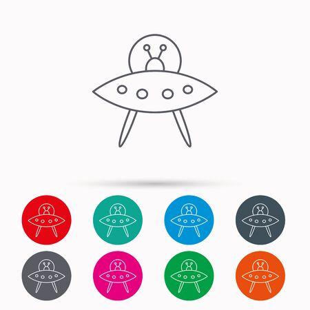 icon UFO. Inconnu voler signe de l'objet. symbole Martiens. icônes linéaires dans les cercles sur fond blanc.