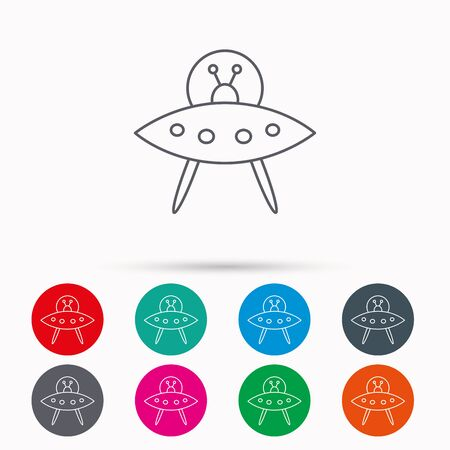 flying object: UFO icon. Unknown flying object sign. Martians symbol. Linear icons in circles on white background. Illustration