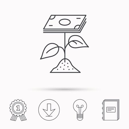 cash book: Profit icon. Money savings sign. Flower with cash money symbol. Download arrow, lamp, learn book and award medal icons.
