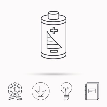 rechargeable: Battery icon. Electrical power sign. Rechargeable energy symbol. Download arrow, lamp, learn book and award medal icons.