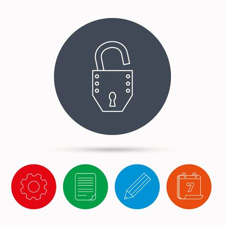 open file: Open lock icon. Padlock or protection sign. Password symbol. Calendar, cogwheel, document file and pencil icons.