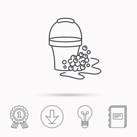 soapy: Soapy cleaning icon. Bucket with foam and bubbles sign. Download arrow, lamp, learn book and award medal icons.